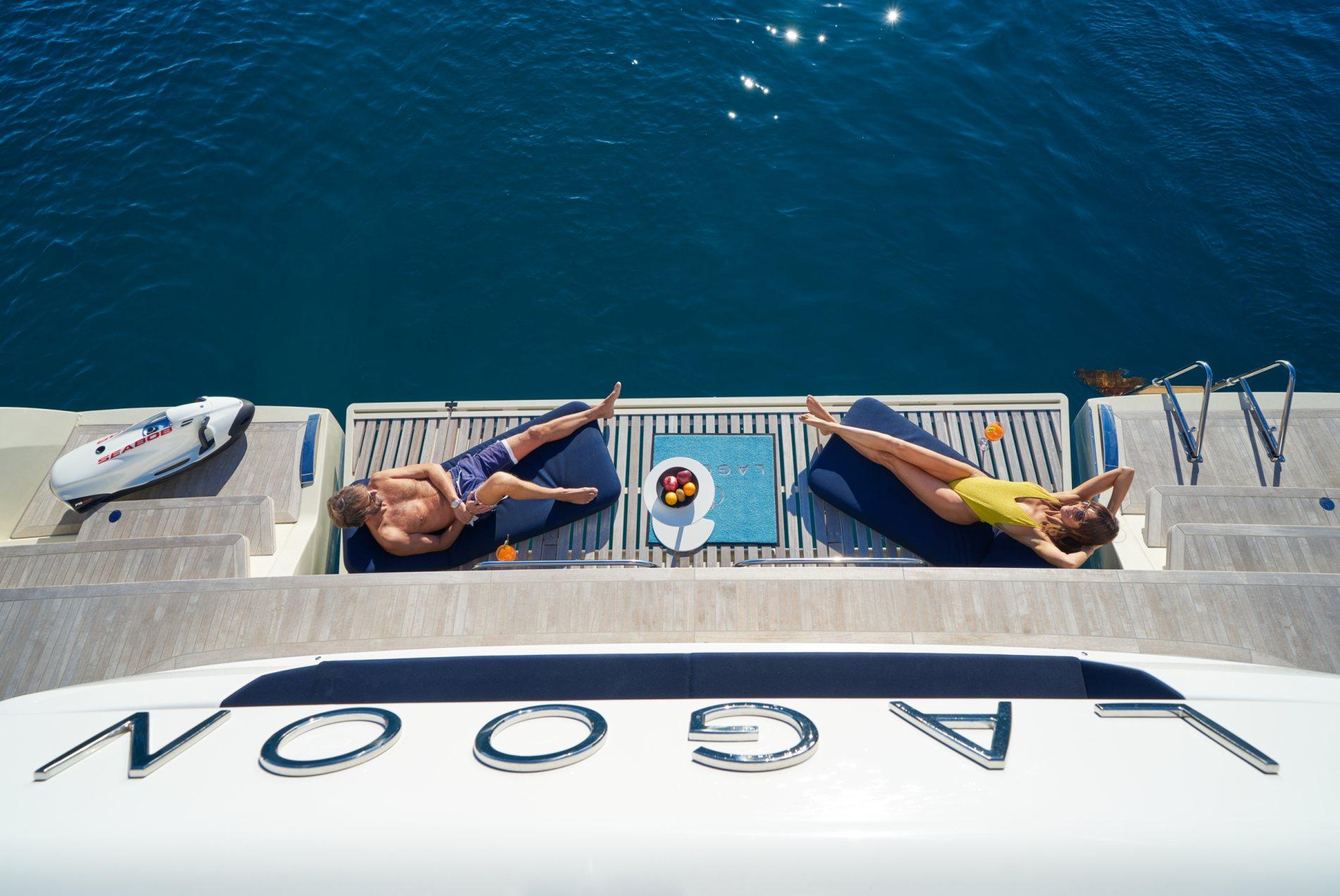 sunbathing on lagoon catamaran